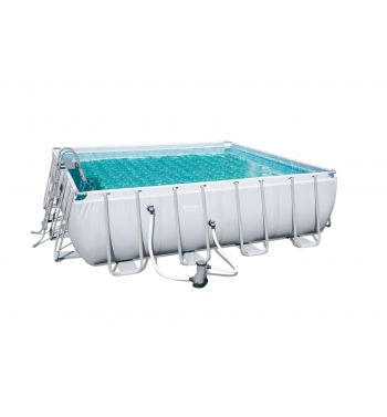 Piscina Desmontable Tubular Bestway Power Steel 488x488x122 cm con Depuradora de Cartucho